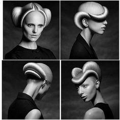 Hairstyling Extraordinaire Repost via Photo: Karen Kananian Hair: Irina Belogurova Creative Hairstyles, Cool Hairstyles, Hairstyle Ideas, Futuristic Hair, Looks Halloween, Arte Fashion, Avant Garde Hair, Runway Hair, Extreme Hair