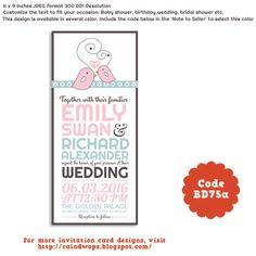 Cute Love Birds Printable Wedding Invitation Card #wedding #invitation #design #lovebird #diy #pink