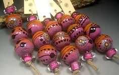 Handmade LAMPWORK Glass Bead Set DONNA MILLARD sra by DonnaMillard, $45.00
