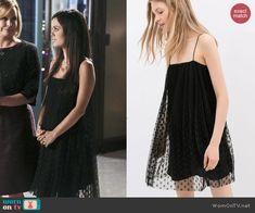 Zoe's sheer black polka dotted dress on Hart of Dixie.  Outfit Details: https://wornontv.net/44547/ #HartofDixie