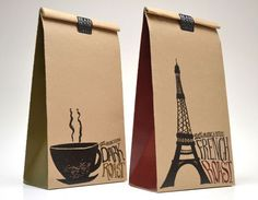 Nostalgic Lunch Bag Branding - Bean House Packaging has a Freshly Parceled Parisian Appeal (GALLERY) Paper Packaging, Coffee Packaging, Pretty Packaging, Brand Packaging, Design Packaging, Pouch Packaging, Shirt Packaging, Cardboard Packaging, Chocolate Packaging