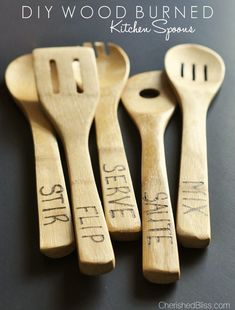 Add a little something extra to your kitchen with these DIY Wood Burned Spoons. These would make a great gift for weddings, mother