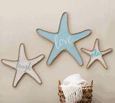 Wood Starfish Wall Art - Set of 3