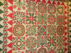 A beautiful red-and-green Baltimore Album quilt from the Arlan and Pat Christ Collection, photo by Barbara D. Schaffer
