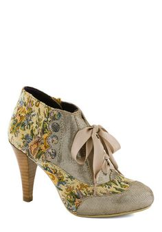 Mix and Match Heel in Taupe by Poetic License - Multi, Floral, Buttons, French / Victorian, Mid, Leather, Scallops, Vintage Inspired, 20s, 3...