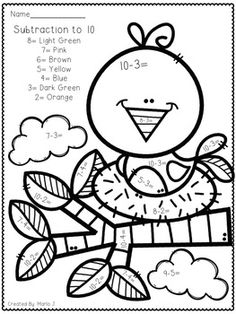Pictures Color By Number Spring Math Worksheet Double