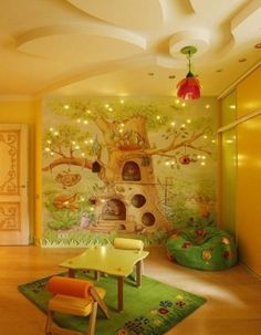 Looking like something out of Winnie The Pooh's Hundred Acre Woods, this cozy room includes a mural with built in shelves for treasures (or small pots of honey), as well as furnishings that would please any silly ol' bear!