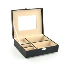 Mele & Co Bridget in Black Faux Leather Classic Design Jewellery Box