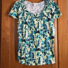 Cool Colored Top This blues and greens top is great with jeans! There is a weave type pattern by the neck (pictured). Like new condition! Style & Co Tops Tees - Short Sleeve