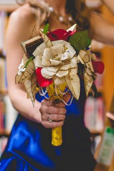 Beauty and the Beast wedding bouquet by ALTflowers, paper and silk roses #Belle…
