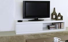 Modern white tv console gorgeous unit atoll storage stand in pure chunky low contemporary ana . Contemporary Tv Units, Modern Tv Units, Contemporary Furniture, Ikea Tv Stand, Tv Stand With Storage, Low Tv Stand, White Tv Stands, Living At Home, Living Room