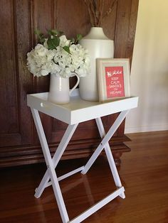 Chic WHITE Butlers Tray/Side Table, Bedside French Provincial/Shabby/Beach