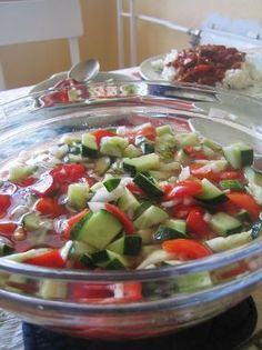 Sherry's Cucumber Salad (17 Day Diet, Cycle 1)2 large cucumbers sliced thinly,peel optional 1 medium tomatoes,chopped  localoffersIcon    1/2 medium red onion,chopped 1 ,chopped 1/4 cup Kraft Fat Free Italian dressing