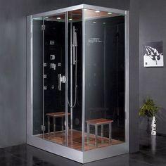 "Ariel Bath Platinum 59"" x 35.4"" x 89.2"" Pivot Door Steam Shower with Left Side Configuartion"