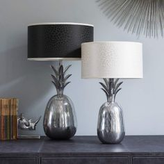 Graham and Green are one of my favourite stores. I love their Palama Pineapple Lamp Bases, the monochrome shades are genius. Pineapple Lamp, I Love Lamp, Interior Lighting, Lighting Ideas, New Living Room, Mirror With Lights, Lamp Bases, Lamp Design, Light Shades