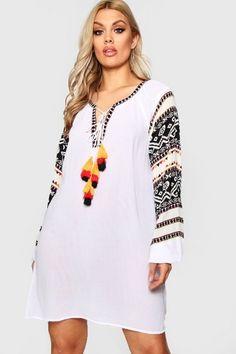 Plus Kara Embroidered Print Tassel Dress