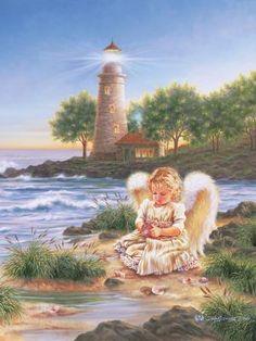 sfondo natura con angelo e faro