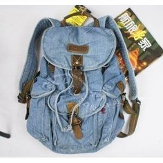 Stone Wash Denim Backpack Schoolbag Lot of Pockets Great Look for School Denim Backpack, School Bags, Cameras, Lens, Backpacks, Pockets, Stone, Books, Fashion