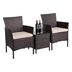 Wicker Patio Chairs | Find Best Patio Chairs Wicker Patio Chairs, Outdoor Chairs, Backyard Patio Designs, Backyard Ideas, Porch Table, 3 Piece Bistro Set, Beige Cushions, Patio Furniture Sets, Table And Chair Sets
