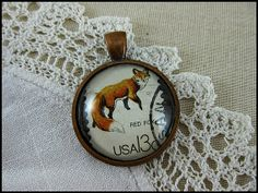 Postage Stamp Pendant / Little Red Fox / USA c. 1978 by OhThePost, $30.00