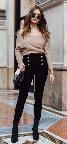 #winter #outfits brown wrap off-shoulder long-sleeve shirt
