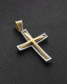 Σταυρός Βάπτισης δυο όψεων Χρυσός & Λευκόχρυσος Diamond Jewelry, Silver Jewelry, Jewelry Necklaces, Cross Art, Wood Necklace, Christian Jewelry, Cross Jewelry, Cross Pendant, Jewelry Making