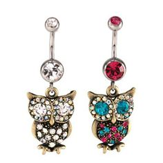 obsessed with the owl on the right as a bellybutton ring even tho I don't have a piercing .... OMG