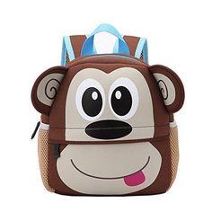 New Children Cute Animal Design Backpack Toddler Kid Neoprene School Bags Kindergarten Cartoon Monkey Owl Comfortable Bag Cute School Bags, School Bags For Boys, Toddler School, Pre School, School Children, School Lunch, Young Children, Cartoon Monkey, Cartoon Bag