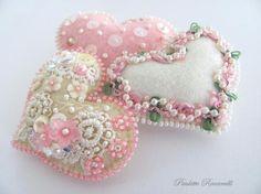 Petite Felt Heart Ornaments / Pocket Hearts by Beedeebabee on Etsy, $30.00