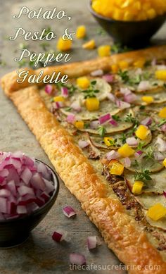 Delicious as an appetizer, cut in small squares. It also makes a wonderful lunch or a light dinner with a simple salad Potato, Pesto & Pepper Galette