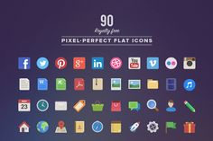 I just released 90 Royalty Free Flat Icons on Creative Market.