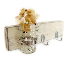 French Cottage Decor Handmade Key Hooks Jar Vase ANTIQUE WHITE