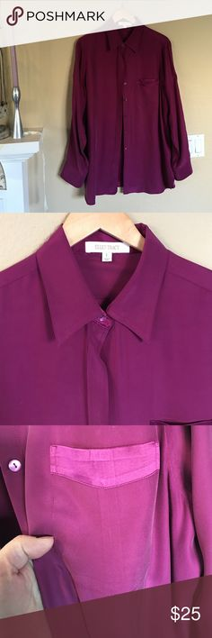 Ellen Tracy silk blouse Excellent condition. This blouse has roll tab sleeves.  It is a gorgeous pinky plum Ellen Tracy Tops Blouses