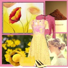 """""""yellow lace"""" by bodangela ❤ liked on Polyvore"""