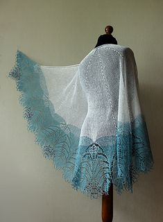 Lace shawl - lace linen shawl in frosty snow white and light blue colors with red beads. Knitted Shawls, Crochet Shawl, Knit Crochet, Lace Shawls, Knit Cowl, Crochet Granny, Hand Crochet, Shawl Patterns, Knitting Patterns