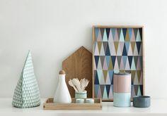 Spear - plateau design by Ferm Living Furniture Making, Modern Furniture, Furniture Design, Fern Living, Plateau Design, Living Colors, Geometric Decor, Geometric Prints, Tea Cozy
