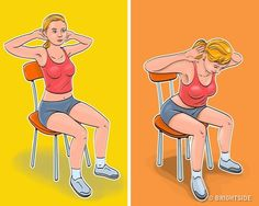 7 Exercises for a Flat Belly and a Thin Waist You Can Even Do While Sitting in a Chair - Fitness und Übungen Tanzen yoga Pilates meditationsübungen Flat Stomach, Flat Belly, Lose Belly, Exercise While Sitting, 7 Workout, Chair Workout, Yoga Pilates, Chair Exercises, Thin Waist