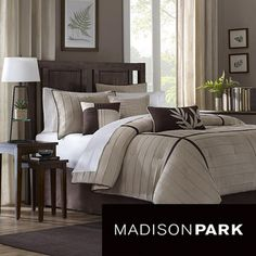 Madison Park Dune Beige/Brown 7-piece Contemporary Comforter Set Perfect in cali king for our new bed