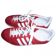 Red Suede Trainers Gazelle ADIDAS ($20) ❤ liked on Polyvore featuring shoes, sneakers, feet, adidas shoes, summer sneakers, adidas trainers, adidas footwear and red suede sneakers