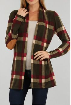 Sun & Moon plaid open front cardigan with elbow patches is Fallsome!