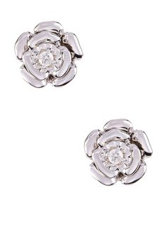 Sterling Silver Diamond Center Flower Stud Earrings - 0.06 ctw on @HauteLook