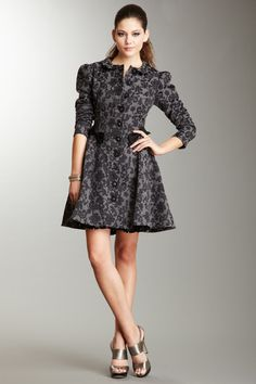 Betsey Johnson Lace Brocade Cotton Embroidered Coat $149