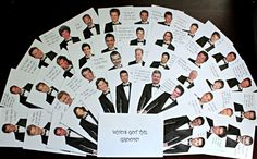 bridal shower game who's got the groom? make copies of a tux, cut out different celeb's heads for each tux, have a few of the groom, those that open the groom win a prize!  www.mariemassephotography.net