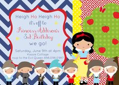 Princess Snow White & Dwarfs Printable Birthday Party Invitation FREE thank you with purchase! by amkprintables on Etsy https://www.etsy.com/listing/217509941/princess-snow-white-dwarfs-printable