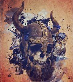Skeleton Warrior, Skeleton Art, Vikings, Viking Tattoo Sleeve, Viking Pictures, Skull Fire, Skull Model, Knight Tattoo, Mythology Tattoos