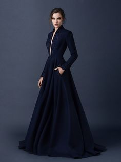 Midnight blue with a Queen Anne neckline