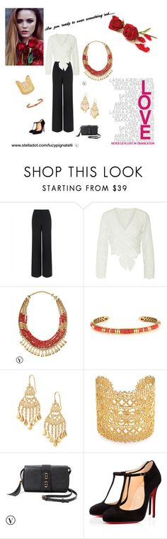 """""""Get ready for something red"""" by lucypignatelli on Polyvore featuring Jaeger, Zimmermann, Stella & Dot, Christian Louboutin, women's clothing, women's fashion, women, female, woman and misses"""