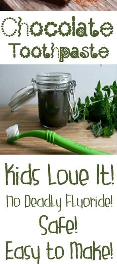 DIY Chocolate Toothpaste your KIDS will love. We made this yesterday at home and I have already used it twice. Appears to work just fine. Teeth feel great too. Yes, it appears that chocolate is a much better alternative to regular fluoride t Toothpaste Recipe, Kids Toothpaste, Homemade Toothpaste, Natural Toothpaste, Homemade Mouthwash, Le Cacao, Diy Spa, Natural Cosmetics, Home Made Soap