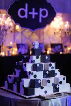 Black & white contrasting geometric cube cake