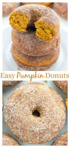 Pumpkin Cinnamon Sugar Donuts (Includes vegan version) #pumpkin #donuts